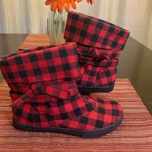 Red and black plaid booties